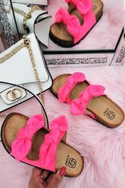 Women Double Bow Tie Flat Slippers Fuchsia Pink