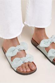 Women Double Bow Tie Flat Slippers Green