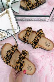 Women Double Bow Tie Flat Slippers Leopard