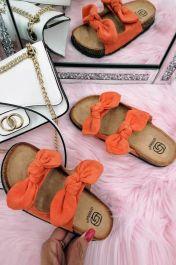 Women Double Bow Tie Flat Slippers Oranges