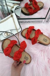 Women Double Bow Tie Flat Slippers Red