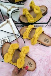 Women Double Bow Tie Flat Slippers Yellow
