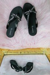 Women Fashion Text Printed Casual Slider Black