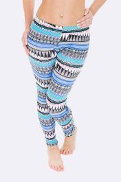 Women Full Aztec Print Blue Legging