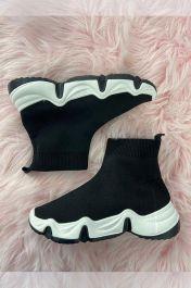 Women High Top Sock Trainers Black