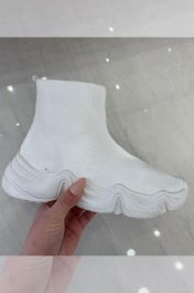 Women High Top Sock Trainers White