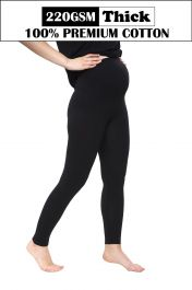 Women Maternity Full Length Black Thick Cotton Leggings (220-GSM)