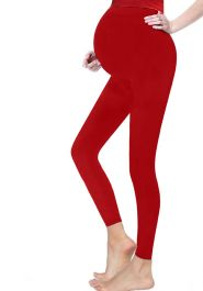 Women Maternity Full Length Red Cotton Leggings