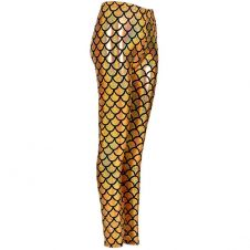 Women Metallic Fish Scale Mermaid Gold Leggings
