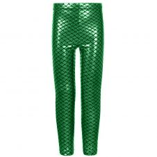 Women Metallic Fish Scale Mermaid Green Leggings
