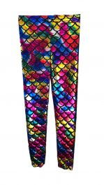 Women Metallic Fish Scale Mermaid Multi Colour Leggings