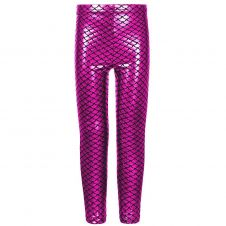 Women Metallic Fish Scale Mermaid Pink Leggings