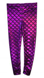 Women Metallic Fish Scale Mermaid Purple Leggings