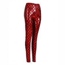 Women Metallic Fish Scale Mermaid Red Leggings