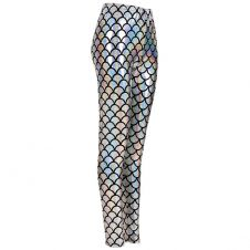 Women Metallic Fish Scale Mermaid Silver Leggings