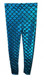 Women Metallic Fish Scale Mermaid Turquoise Leggings