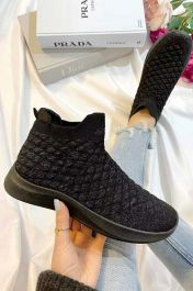 Women Quilted High Top Sock Trainers Black