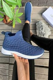 Women Quilted High Top Sock Trainers Blue
