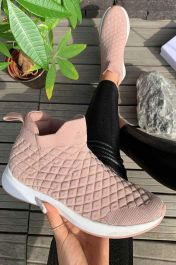 Women Quilted High Top Sock Trainers Pink