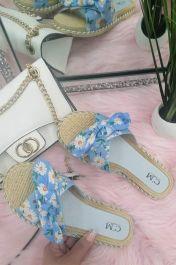 Women Single Strap Daisy Bow Sliders Light Blue