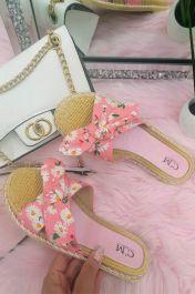 Women Single Strap Daisy Bow Sliders Pink