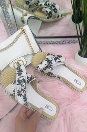 Women Single Strap Daisy Bow Sliders White