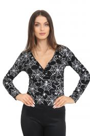Women Spider Printed Black leotard