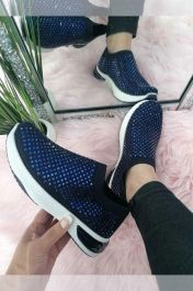 Women Studded Slip On Trainer Blue