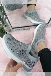 Women Studded Slip On Trainer Grey