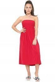 Womens Ladies Plain Sheering Boobtube Top Red colour