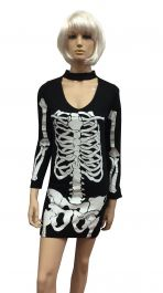 Womens Skeleton Print Bodycon Mini Dress