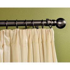 Woodside Black Metal Extending Curtain Pole - 180cm-300cm, 16-19mm diameter