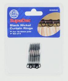 Woodside Curtain Rings Pack 6 - Black Nickel
