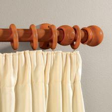 Woodside Walnut Effect Wooden Curtain Pole - 150cm, 28mm diameter