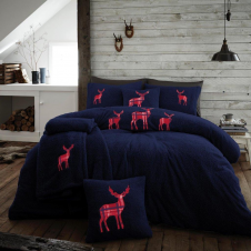 XMAS Stag Embroidered Teddy Bear Navy Fleece Soft Duvet Set