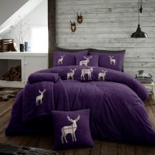 XMAS Stag Embroidered Teddy Bear Purple Fleece Soft Duvet Set