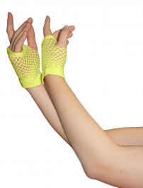 Yellow Fingerless Short Fishnet Gloves