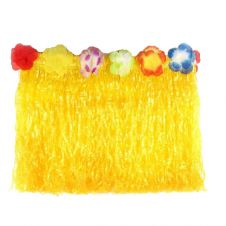 Yellow Hula Skirt with Flowers (40cm)