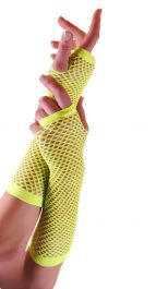 Yellow Long Fishnet Gloves (Dozen)