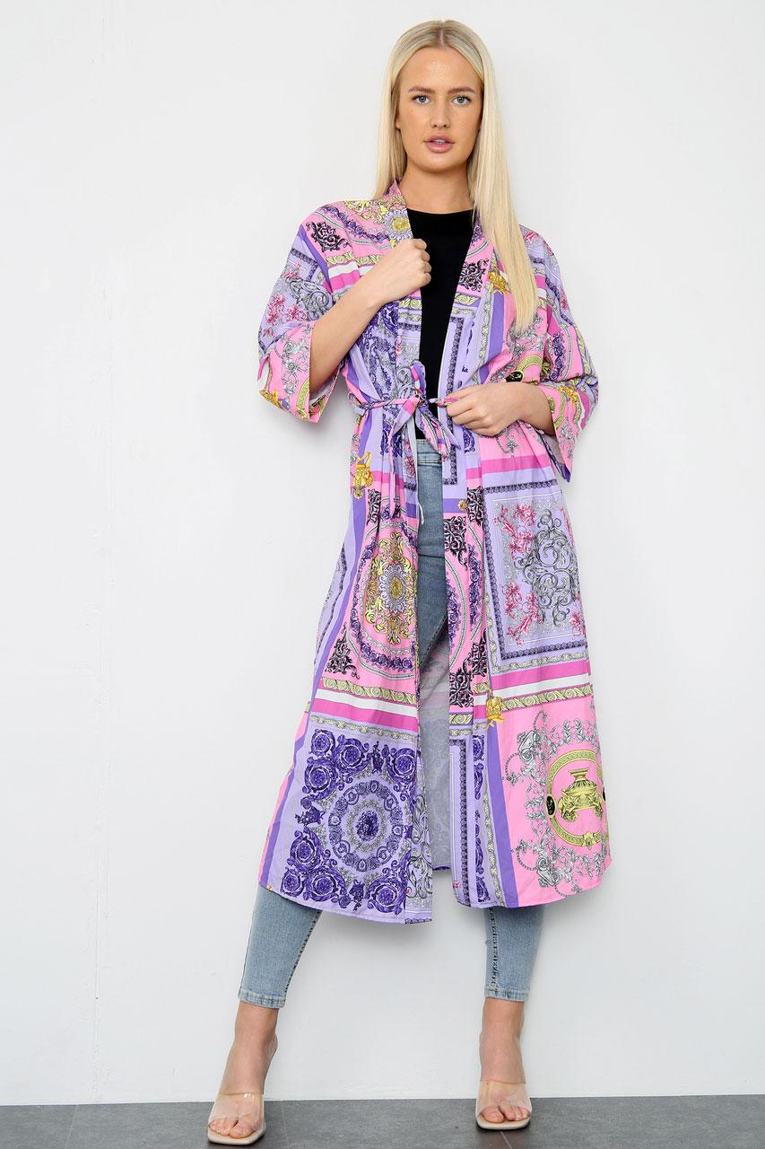 Tie Waist Long Jacket Purple