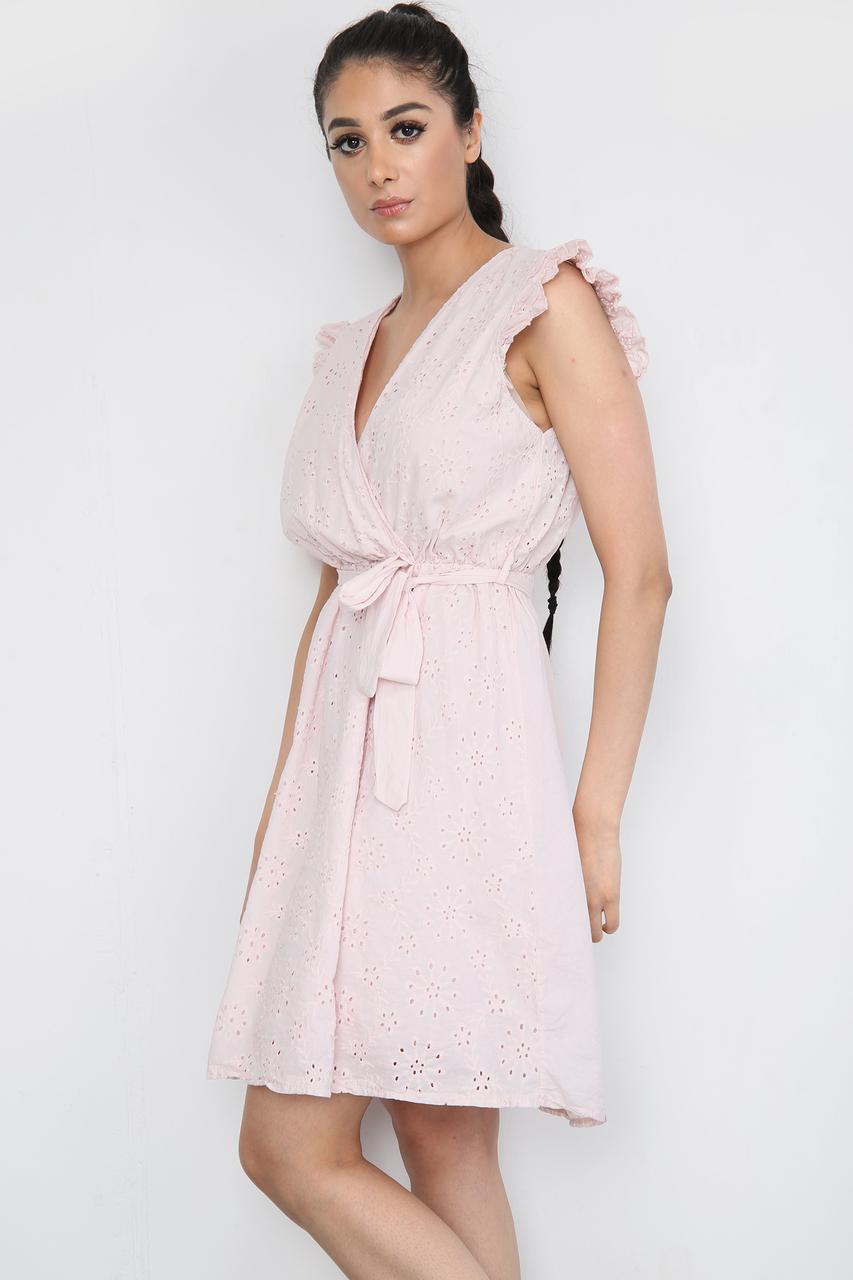 Tie Waist V-Neck Mini Dress Pink