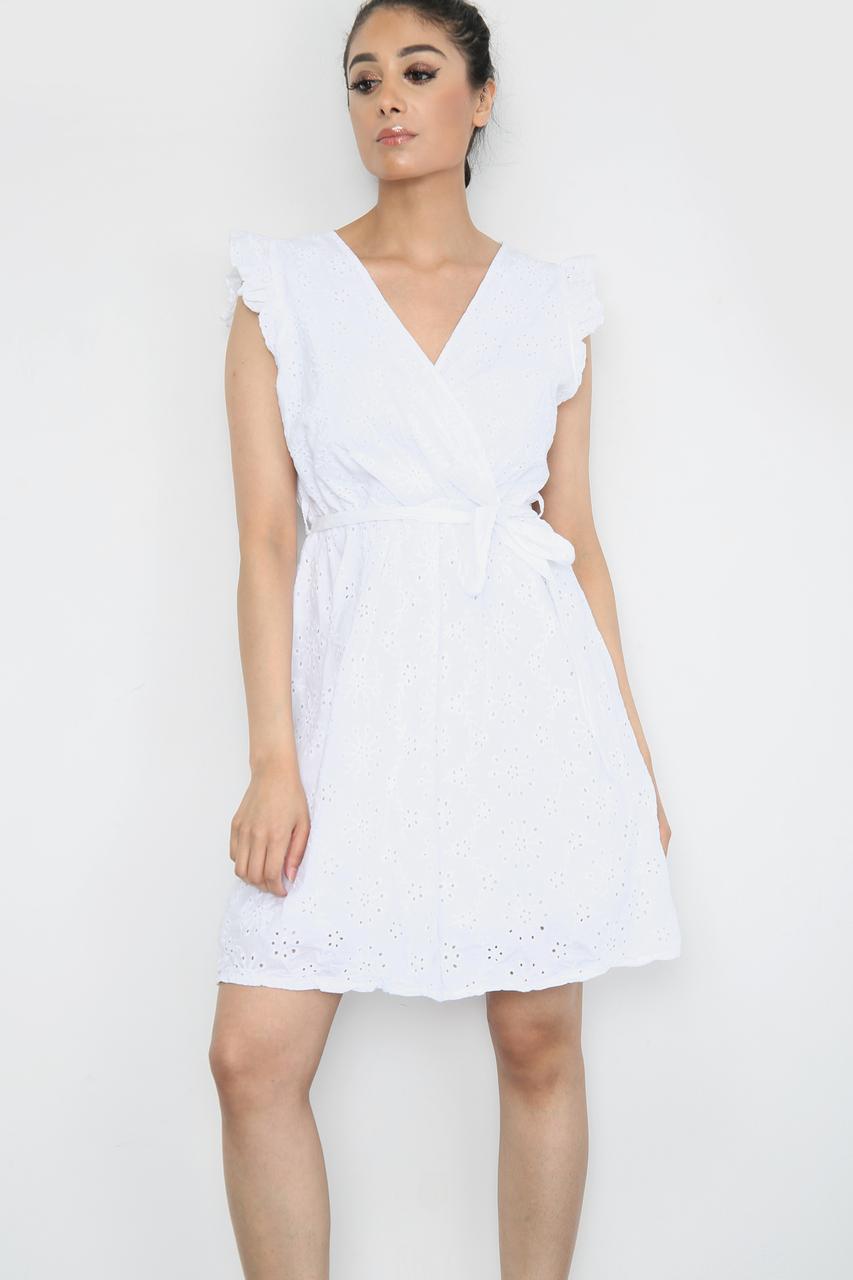 Tie Waist V-Neck Mini Dress White