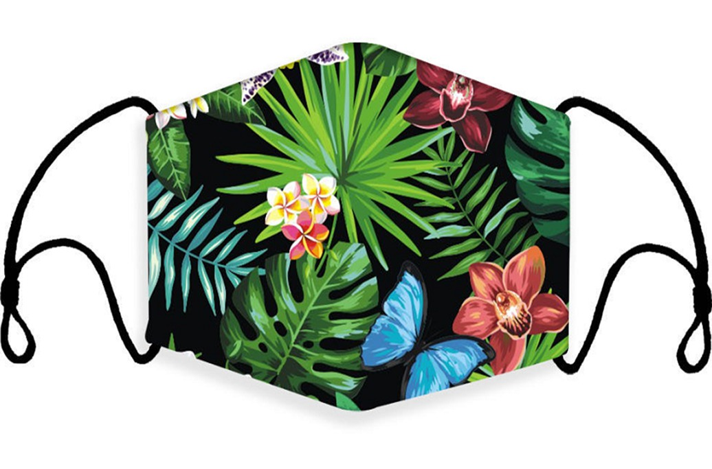Tropical Leaf Print Face Mask With Filter Pocket