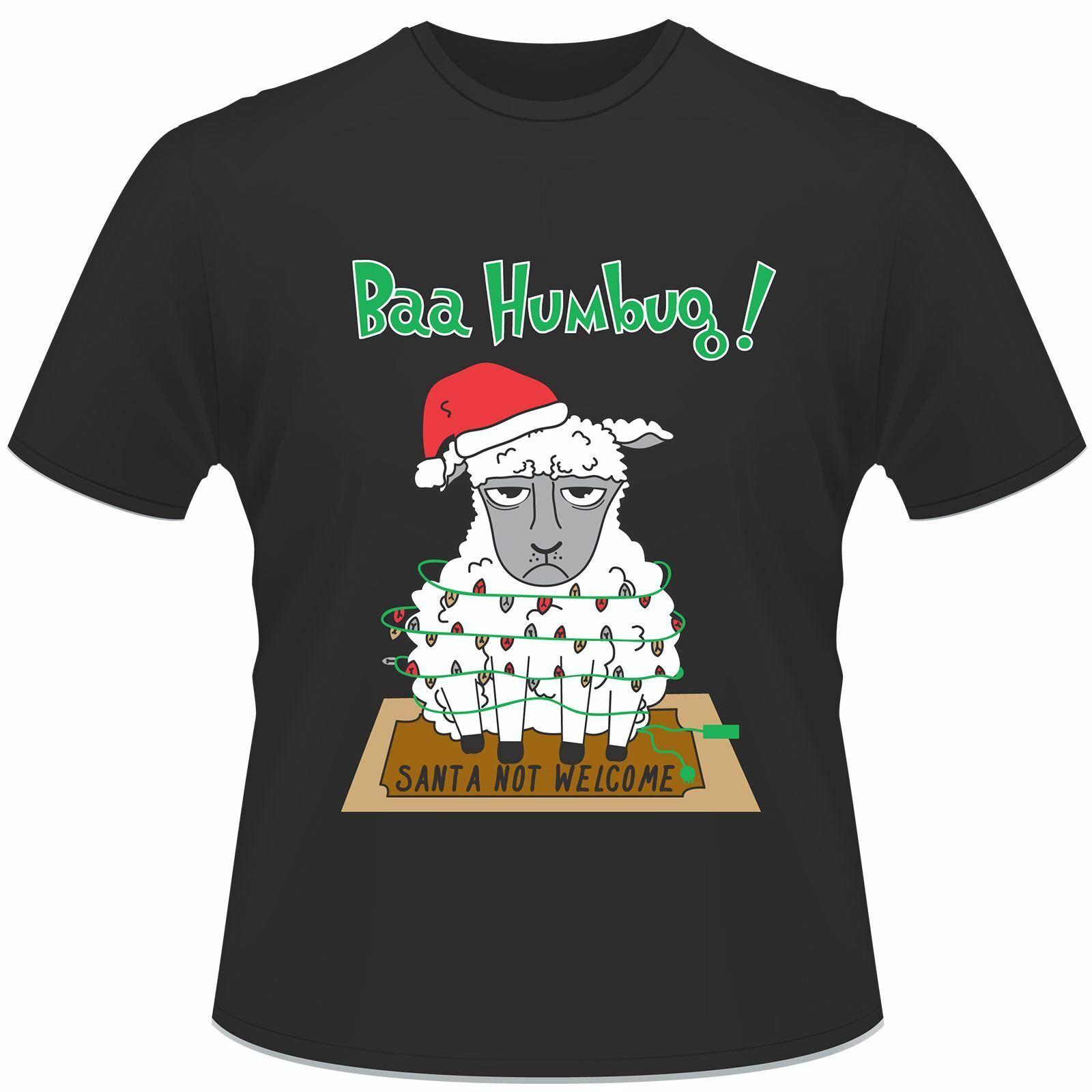 Unisex Christmas Santa Not Welcome Printed Black T-Shirt
