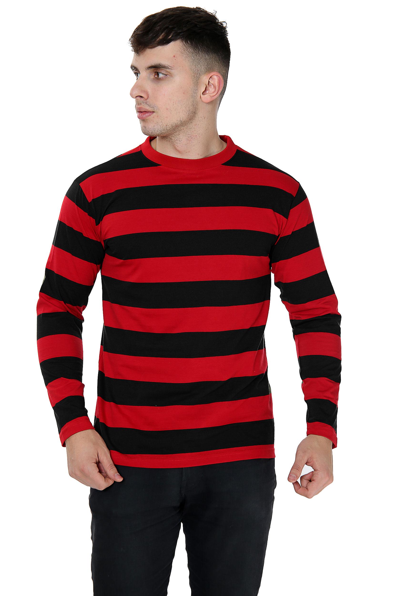 Unisex Red & Black Stripe T-Shirt Full Sleeve