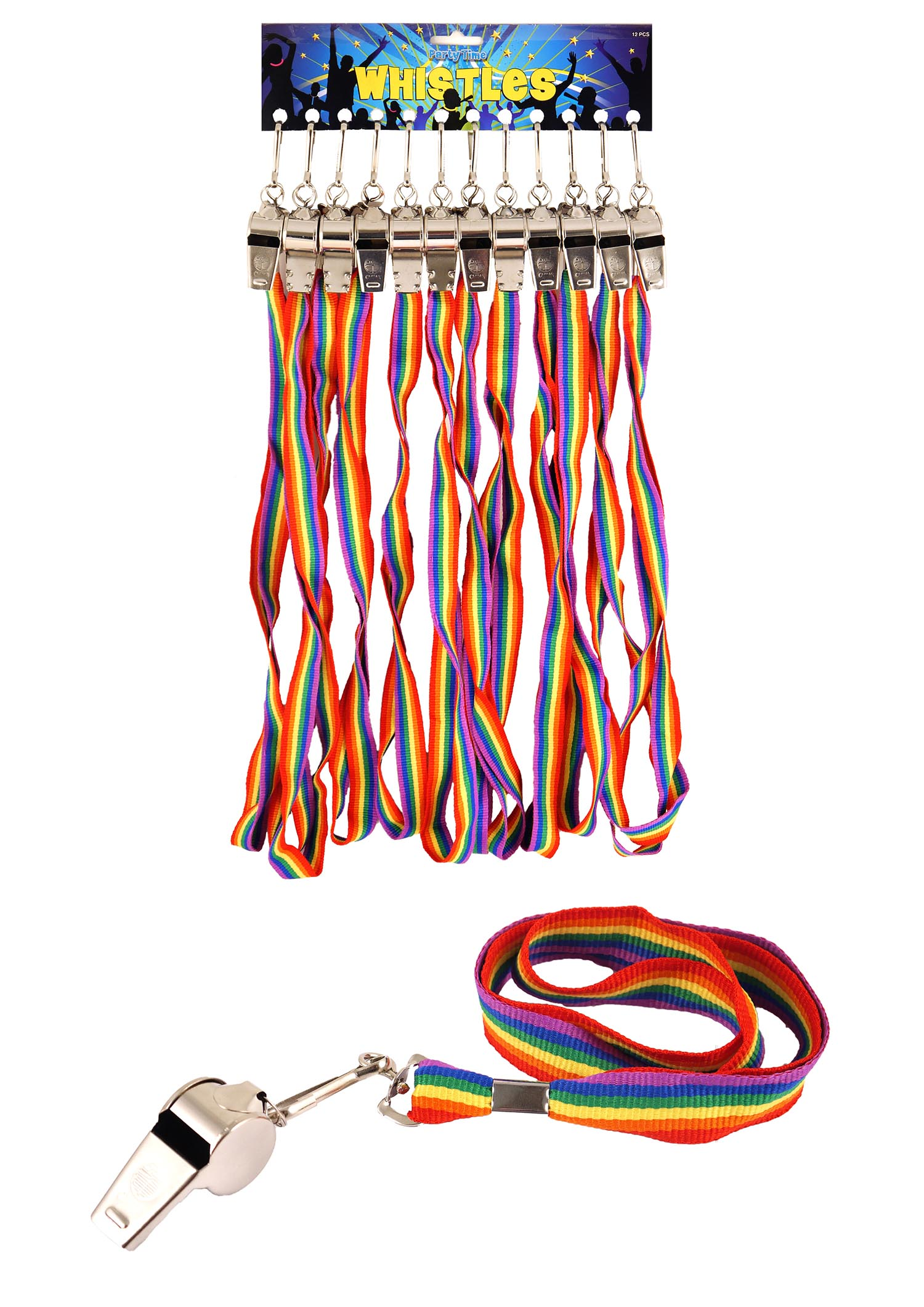 Rainbow Whistle Metal 5.5cm (Pack of 12)