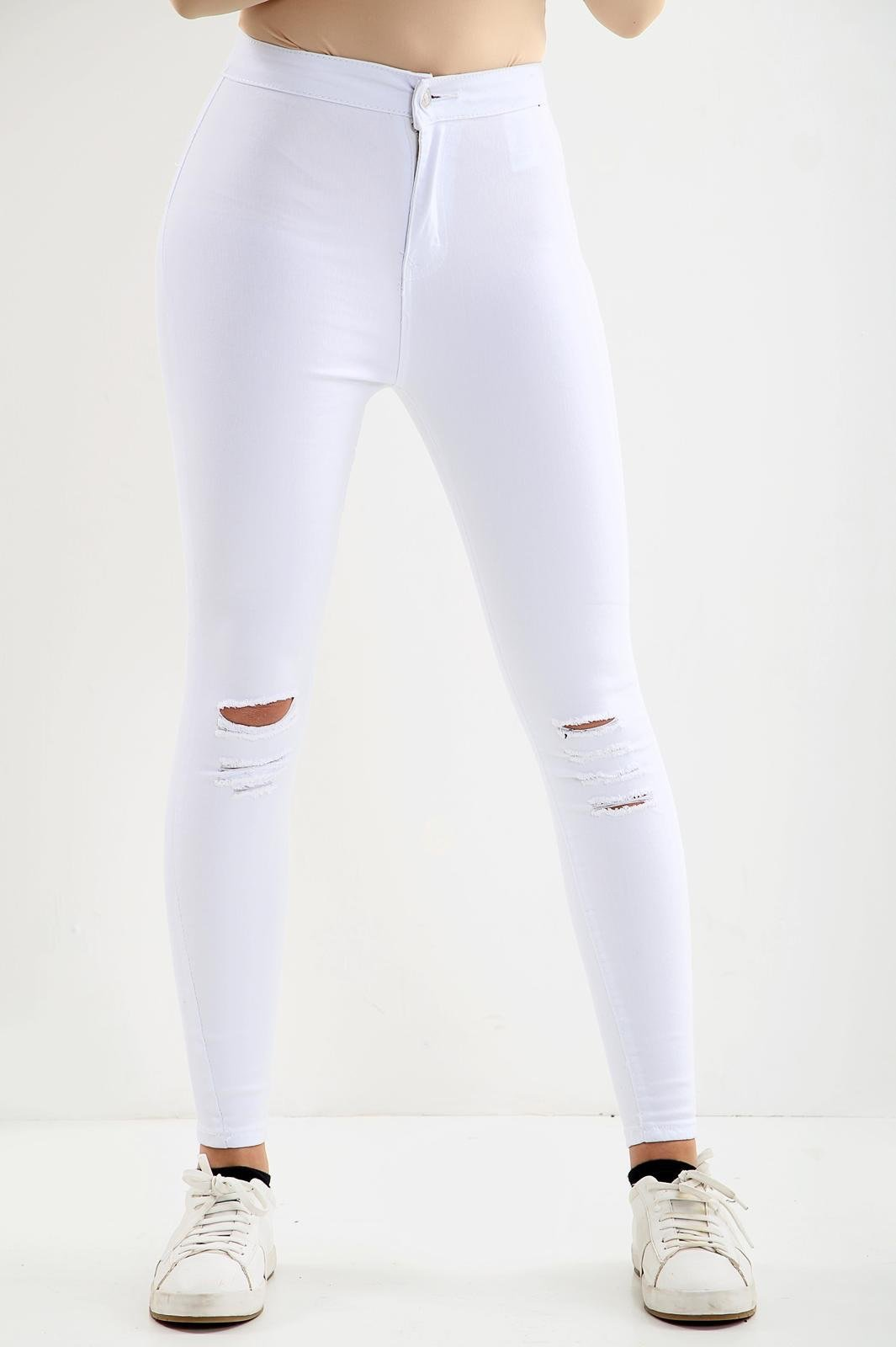 White Knee Cut Ladies High waisted jeans