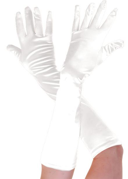 Plain Satin Long Gloves White