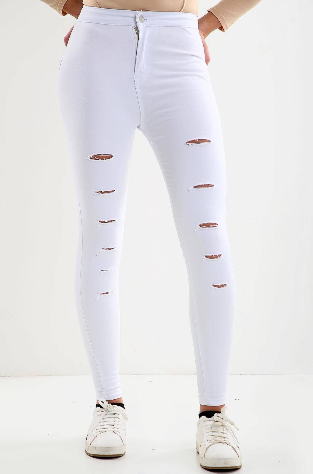 White Multi-cut ladies high waisted jeans