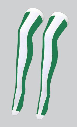 White/Green OTK Vertical Stripe Socks